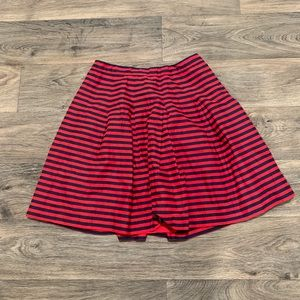 J.CREW skirt, red and navy striped skirt, size 6